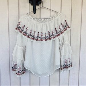 NWT WHBM Embroidered Off Shoulder Peasant Blouse